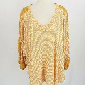 Avenue Loralette Top Women 2X Golden Yellow White